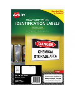 AVERY L7060 DURABLE H/D LABEL,Laser 21/Sht 63.5x38.1mm Wht,Pack of 525