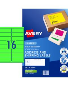AVERY L7162FG LASER LABELS,16UP 99.1x34mm Fluoro Green,Pack of 25