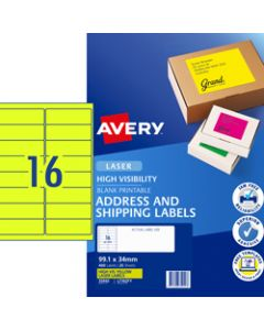 AVERY L7162FY LASER LABELS,16UP 99.1x34mm Fluoro Yellow,Pack of 25