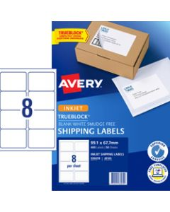 AVERY J8165 MAILING LABELS Inkjet 8/Sht 99.1x67.7 Parcel Pack of 400
