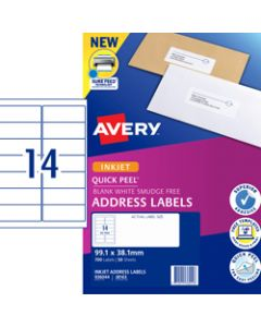 AVERY J8163 MAILING LABELS Inkjet 14/Sht 99.1x38.1 Adress Pack of 700