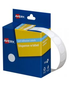 AVERY DMC14W DISPENSER LABEL,Circle 14mm White,Pack of 1200