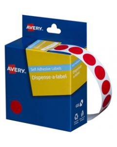 AVERY DMC14R DISPENSER LABEL,Circle 14mm Red,Pack of 1050