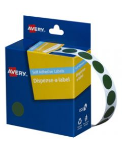 AVERY DMC14G DISPENSER LABEL,Circle 14mm Green,Pack of 1050