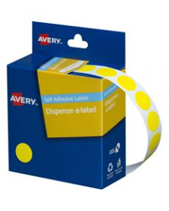 AVERY DMC14Y DISPENSER LABEL,Circle 14mm Yellow,Pack of 1050