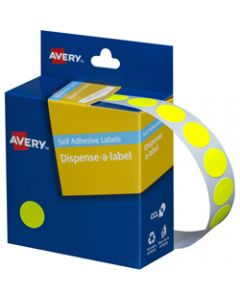 AVERY DMC14FY DISPENSER LABEL,Circle 14mm Fluro Yellow,Pack of 700