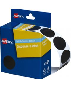 AVERY DMC24BL DISPENSER LABEL,Circle 24mm Black,Pack of 500