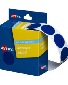 AVERY DMC24B DISPENSER LABEL,Circle 24mm Blue,Pack of 500