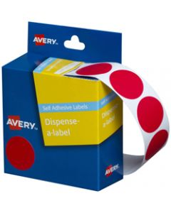 AVERY DMC24R DISPENSER LABEL,Circle 24mm Red,Pack of 500