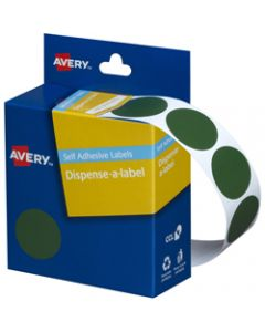 AVERY DMC24G DISPENSER LABEL,Circle 24mm Green,Pack of 500