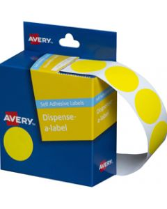AVERY DMC24Y DISPENSER LABEL,Circle 24mm Yellow,Pack of 500