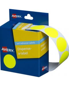 AVERY DMC24FY DISPENSER LABEL,Circle 24mm Fluro Yellow,Pack of 350