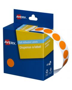 AVERY DMC14O DISPENSER LABEL,Circle 14mm Orange,Pack of 1050