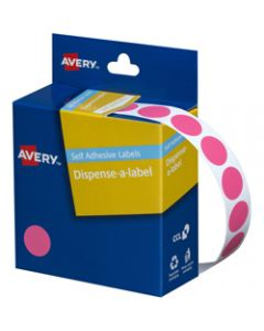 AVERY DMC14P DISPENSER LABEL,Circle 14mm Pink,Pack of 1050
