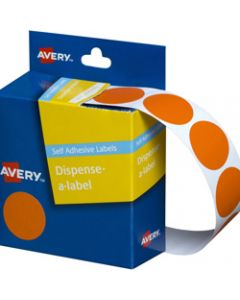 AVERY DMC24O DISPENSER LABEL,Circle 24mm Orange,Pack of 500