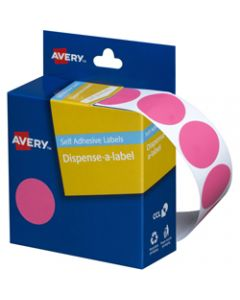 AVERY DMC24P DISPENSER LABEL,Circle 24mm Pink,Pack of 500