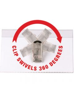 REXEL CONVENTION CARD HOLDERS,Swivel Clip,Box of 50