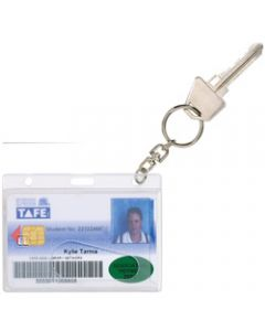 REXEL RIGID ID CARD HOLDERS,Fuel Card with Key Ring Clear,Pack of 10