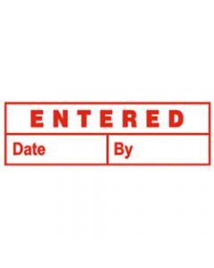 DESKMATE PRE INK STAMP,ENTERED (DATE & BY) Red E06