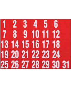 QUARTET MAGNETIC HEADINGS,Dates White on Red 25x25 mm,Set of 31