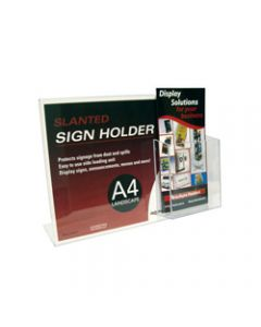 Deflect-O Sign Holder Slanted,A4 Landscape,DL Brochure Pocket