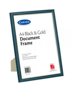 CARVEN DOCUMENT FRAME,A4 Wall Mountable Black & Gold