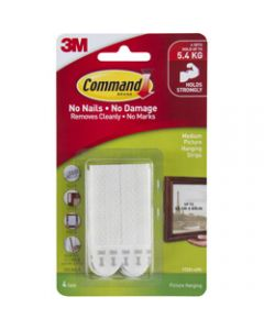 COMMAND PICTURE HANGING STRIPS,17201-4PK Medium,White