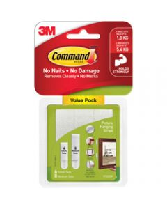 COMMAND PICTURE HANGING STRIPS,17203 Small and Medium Pack,White