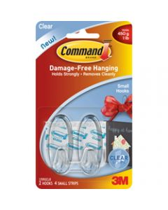 COMMAND CLEAR HOOKS 17092CLR Small Hooks Clear