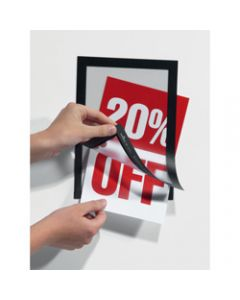 DURABLE MAGAFRAME SIGN HOLDER,A5 Black Adhesive Back,Pack of 2