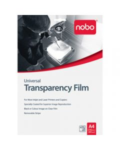 NOBO TRANSPARENCY FILM,Universal Inkjet and Laser,Pack of 25
