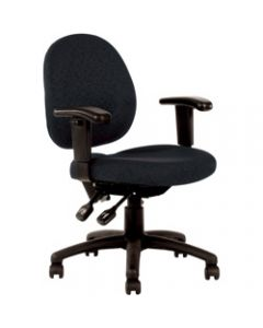 LINCOLN TYPIST CHAIR,Medium Back With Arms,Black Fabric