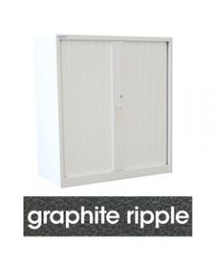 STEELCO TAMBOUR DOOR CUPBOARD,2 Shelf Graphite Ripple,H1015xW1200xD463mm