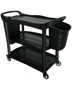 CLEANLINK TROLLEY,3-Tier With Collecting Buckets,120x50x96cm Grey