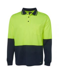 ZIONS 3813 SAFETY POLO SHIRT,Two Tone Fluoro Long Sleeve
