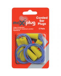 MAXISAFE DISPOSABLE EARPLUGS,Corded Class 5 27dB,Pack of 5
