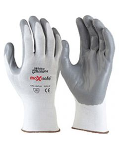 MAXISAFE SYNTHETIC COAT GLOVES,White Knight FoamNitrile Glove,Large