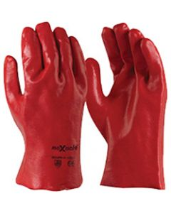 MAXISAFE CHEMICAL RESISTANT,Gloves PVC Single Dipped,Red 27cm