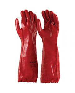 MAXISAFE CHEM RESISTANT GLOVES,Chemical Resistant Glove,Red PVC Single Dipped 45cm