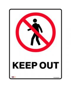 SAFETY SIGNAGE - PROHIBITION,Keep Out 450mmx600mm Metal
