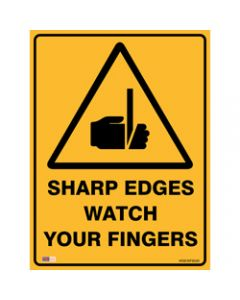 SAFETY SIGNAGE - WARNING,Sharp Edges Watch Fingers,450mmx600mm Metal