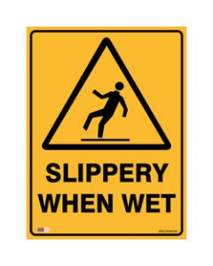 SAFETY SIGNAGE - WARNING,Slippery When Wet,450mmx600mm Metal