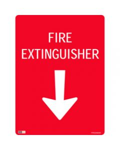 SAFETY SIGNAGE - FIRE,Fire Extinguisher W/ Arrow,450mmx600mm Metal