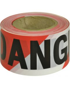 MAXISAFE BARRICADE TAPE,DANGER Black On Red/White,75mm x 100m