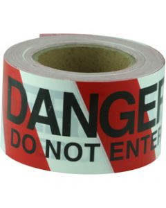 MAXISAFE BARRICADE TAPE,DANGER DO NOT ENTER,Black On Red/White 75mm x 100m