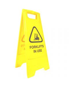 CLEANLINK SAFETY SIGN,Forklifts In Use,32x31x65cm Yellow