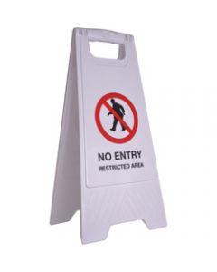 CLEANLINK SAFETY SIGN,No Entry Restricted Area,32x31x65cm White
