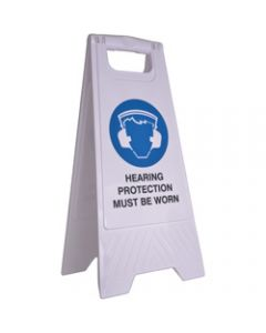 CLEANLINK SAFETY SIGN,Hearing Protection Must BeWorn,32x31x65cm White