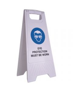 CLEANLINK SAFETY SIGN,Eye Protection Must Be Worn,32x31x65cm White