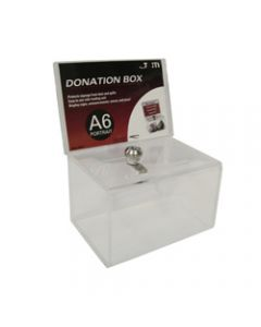Deflect-O Donation Box,Clear Header A6 Landscape,Lockable